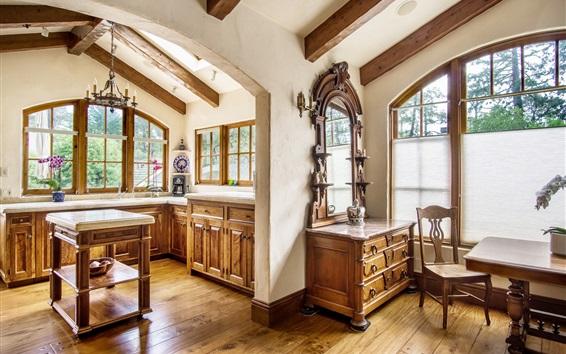 Papéis de Parede Cozinha, móveis, janelas