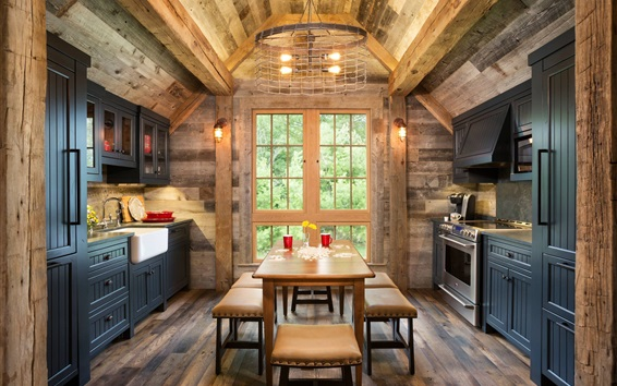 Papéis de Parede Cozinha, casa de madeira, mesa, luzes