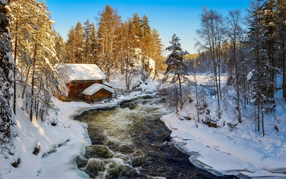 Wallpaper Kuusamo, Finland, winter, snow, hut, river, trees