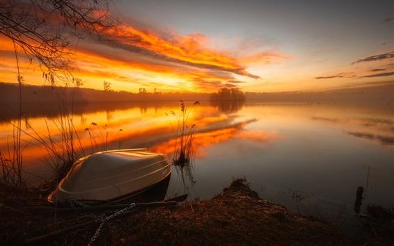 Wallpaper Lake, boat, river, sunrise, fog, morning