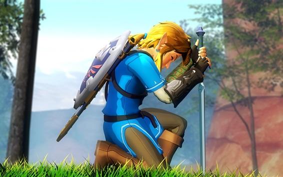 Wallpaper Legend of Zelda, gold hair boy, sword, Nintendo games