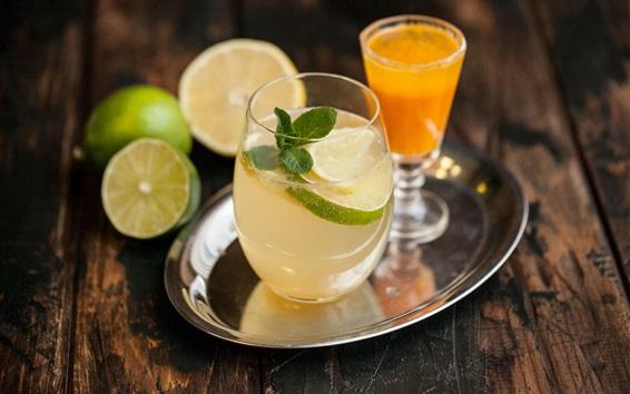 Wallpaper Lemon drinks, glass cup