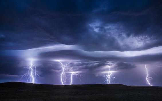 Обои Молния, буря, облака, тьма