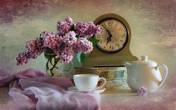 Wallpaper Lilac, pink flowers, clock, cup, kettle