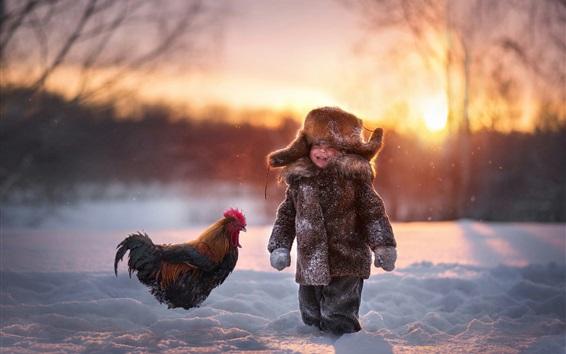 Papéis de Parede Garotinho e galo na neve, inverno, frio