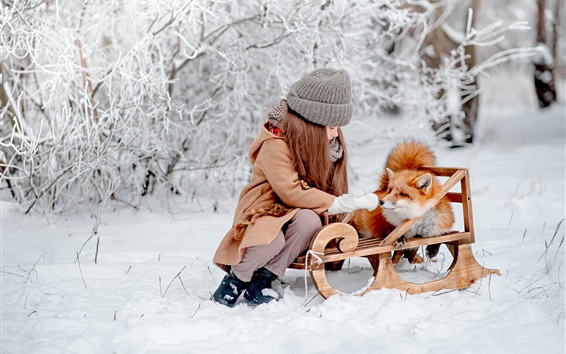 Wallpaper Little girl and fox are friends, winter, snow