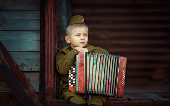 Wallpaper Little soldier, cute boy, accordion