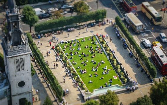 Wallpaper London, England, city, park, top view