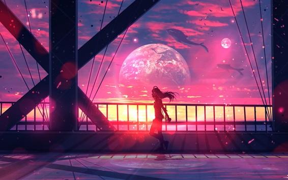 Wallpaper Long hair girl, bridge, whales, planets, fantasy art