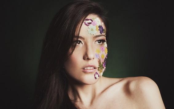 Wallpaper Long hair girl, face, flowers, style