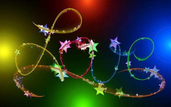 Fond d'écran Amour, ruban abstrait, coloré, étoiles