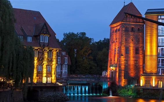 Wallpaper Luneburg, Lower Saxony, Germany, night, lights