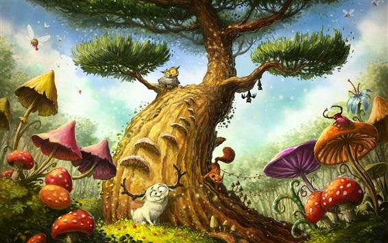 Wallpaper Magic tree, owl, mushroom, sheep, art painting