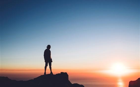 Wallpaper Man, rocks, sea, sunset