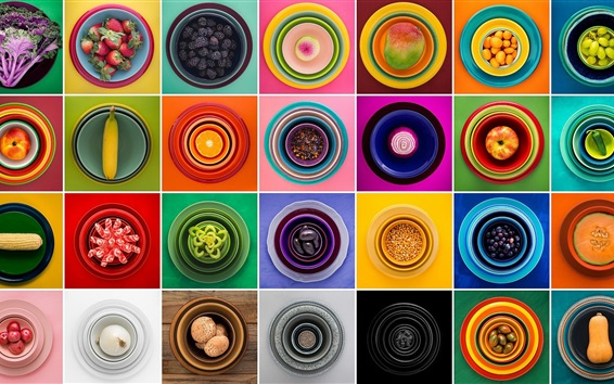 Wallpaper Many kinds of food, plate, colorful