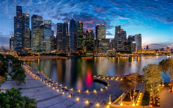 Wallpaper Marina Bay, Singapore, city, night, lights