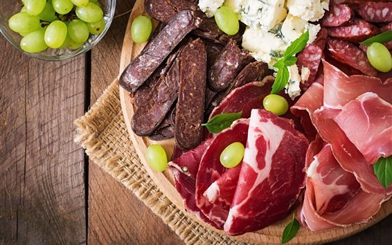 Wallpaper Meat, grapes, food