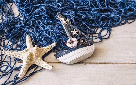 Wallpaper Mesh, starfish, toy boat