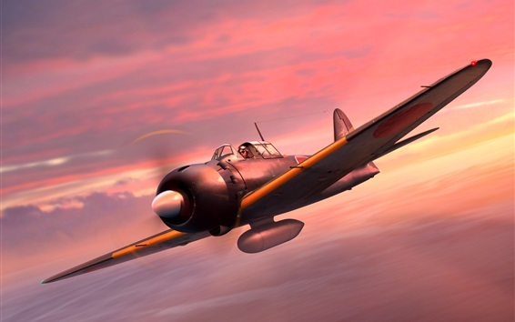 Wallpaper Mitsubishi Fighter A6M5 Zero, Japanese Navy
