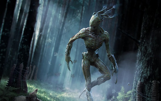 Wallpaper Monster in the forest, creative design