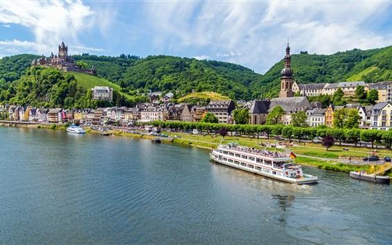 Wallpaper Mosel, Germany, river, boats