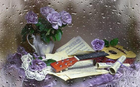Wallpaper Music book, guitar, rose, still life