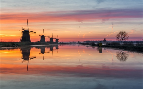 Wallpaper Netherlands, windmills, river, water, morning, fog