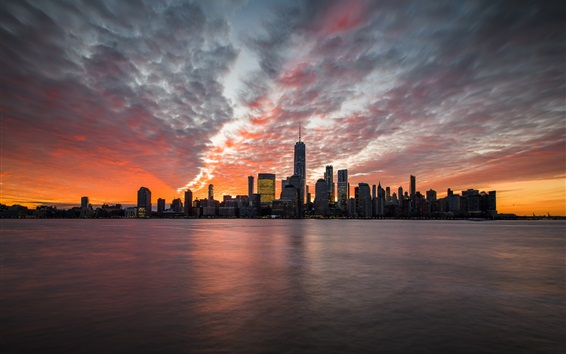 Wallpaper New Jersey, Jersey City, skyscrapers, sea, clouds, dusk, USA