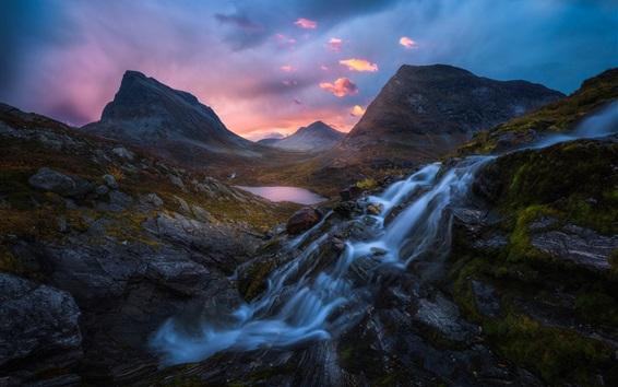 Papéis de Parede Noruega, cachoeira, montanhas, lago