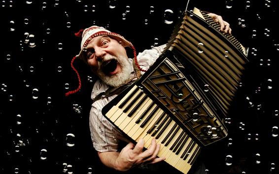 Papéis de Parede Velho toca acordeão, música, bolhas
