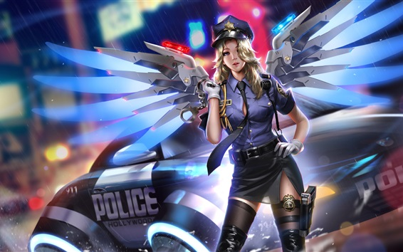 Wallpaper Overwatch, Mercy, police, girl, wings, night