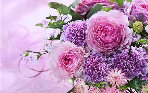 Wallpaper Pink flowers, bouquet, chrysanthemum, roses