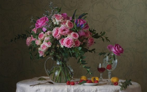 Wallpaper Pink roses, vase, cups