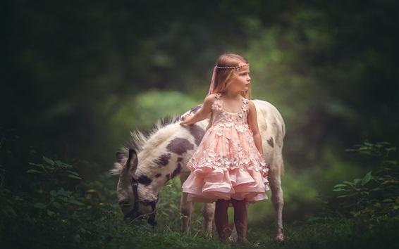 Wallpaper Pink skirt little girl and donkey