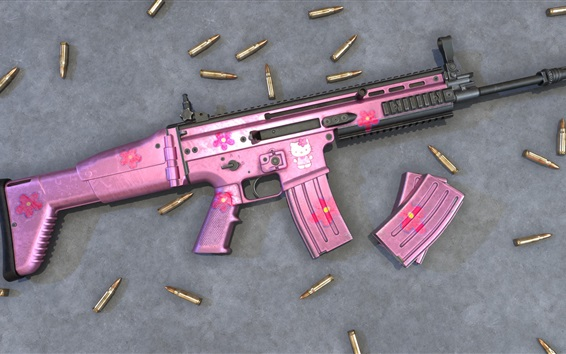 Wallpaper Pink style assault rifle, bullets, weapon