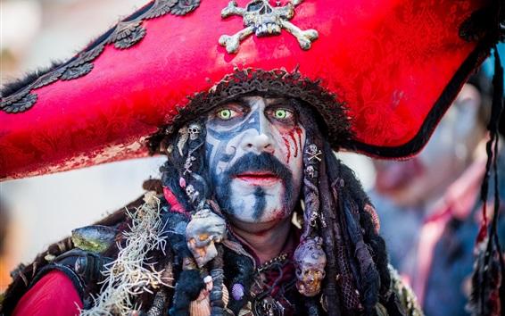 Wallpaper Pirate, male, makeup, green eyes