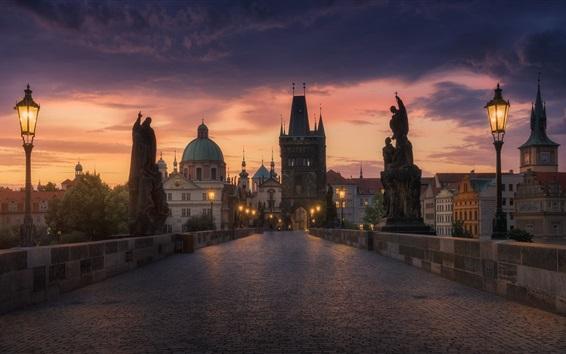 Wallpaper Prague, evening, bridge, road, lights, buildings