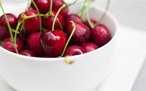 Wallpaper Red cherries, white bowl