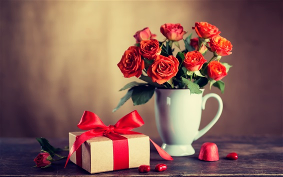 Wallpaper Red roses, cup, gift, romantic