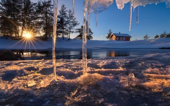 Fondos de pantalla Ringerike, Noruega, carámbanos, casa, invierno, nieve, estanque, puesta de sol