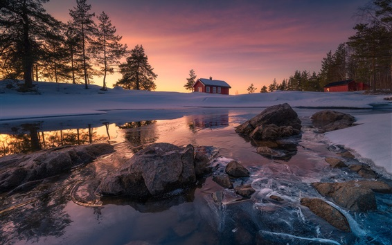 Wallpaper Ringerike municipality, Norway, snow, rocks, lake, winter