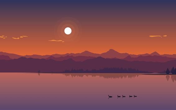 壁紙 川、山、アヒル、太陽、夕暮れ、ベクトルアート写真