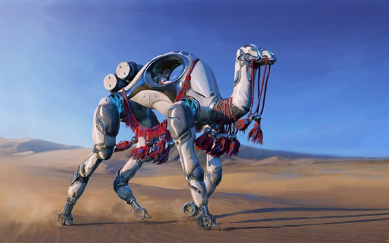 Wallpaper Robot camel, desert, fantasy, art picture