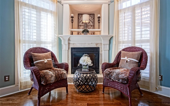 Wallpaper Room, chairs, fireplace, windows