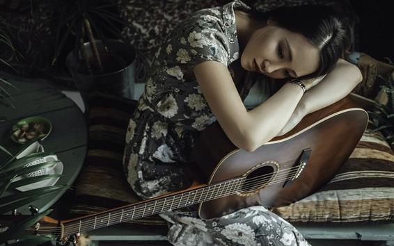 Wallpaper Sadness Asian girl and her guitar