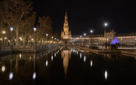 Papéis de Parede San Bernardo, Sevilha, Andaluzia, edifícios, noite, canal, água, luzes