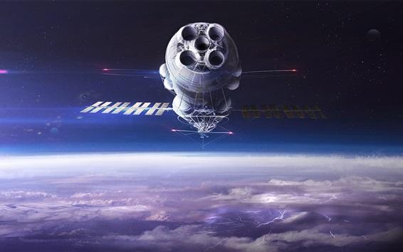 Wallpaper Satellite, space, clouds, stars