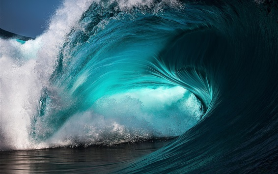 Wallpaper Sea wave, roll, blue water, splash