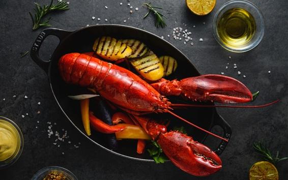 Wallpaper Seafood, lobster, food