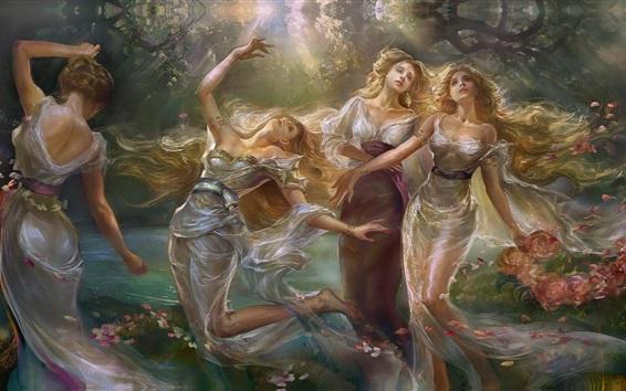 Wallpaper Sisters, dance girls, flowers, art painting